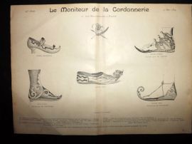 Le Moniteur de la Cordonnerie 1894 Rare Antique Shoe Design Print 30